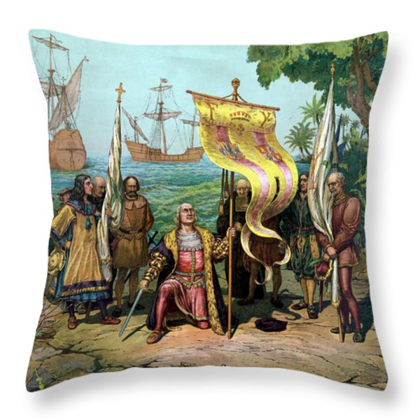 Columbus Taking Possession Of The New Country Throw Pillow by War Is Hell Store