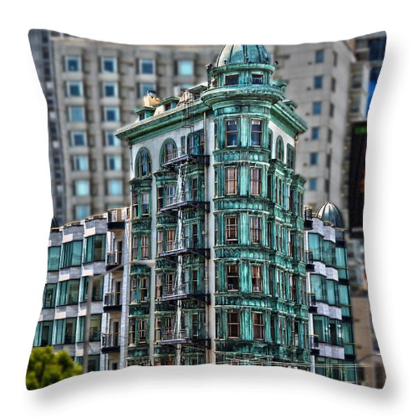 Columbus Tower In San Francisco Throw Pillow by RicardMN Photography