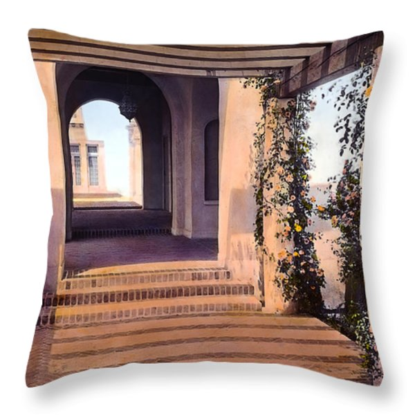 Columns and Flowers Throw Pillow by Terry Reynoldson