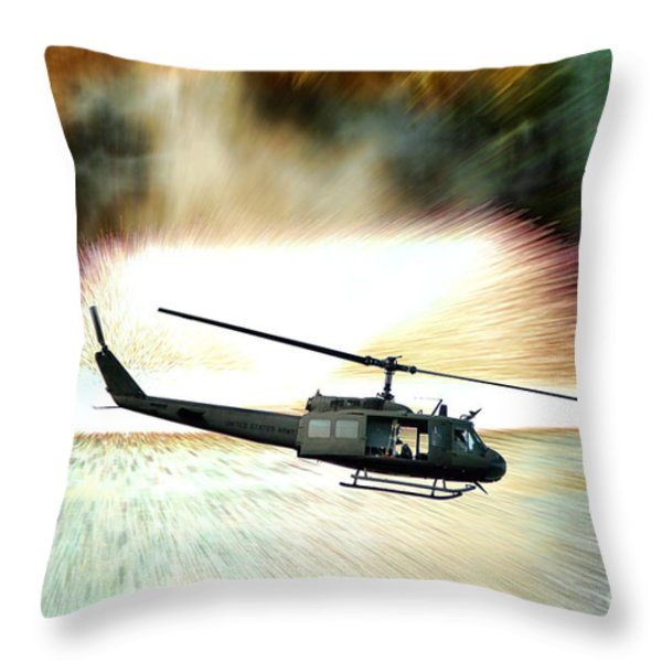 Combat Helicopter Throw Pillow by Olivier Le Queinec