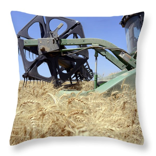 Combine harvester  Throw Pillow by Shay Fogelman