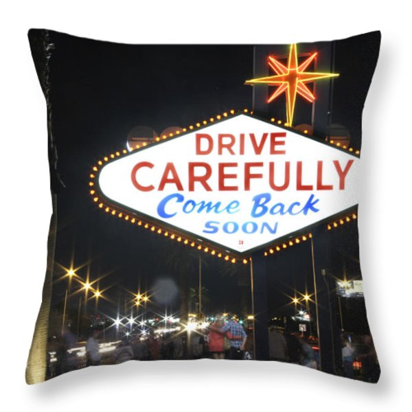 Come Back Soon Las Vegas  Throw Pillow by Mike McGlothlen