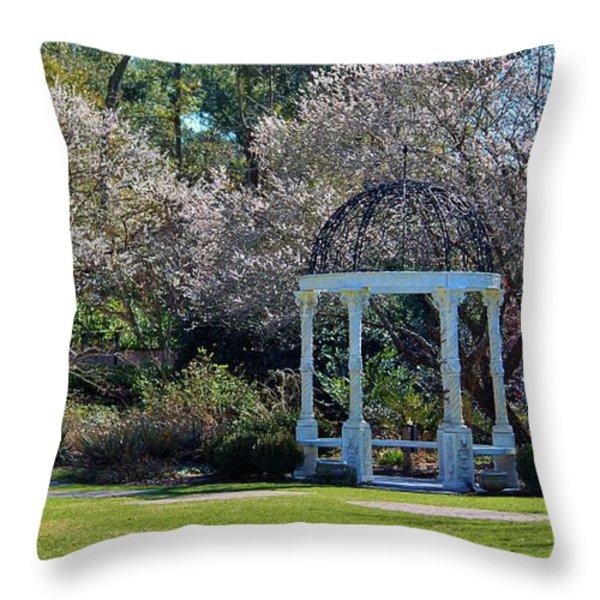 Come Into The Garden Throw Pillow by Cynthia Guinn