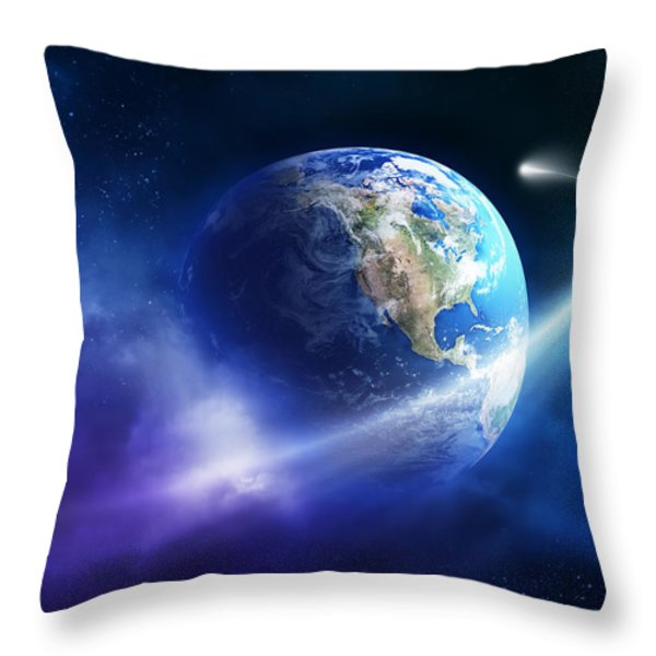 Comet moving passing planet earth Throw Pillow by Johan Swanepoel