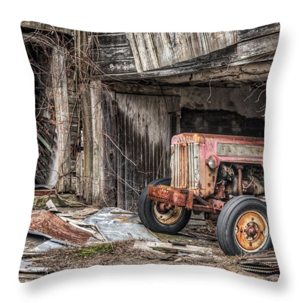 Comfortable Chaos - Old Tractor At Rest - Agricultural Machinary - Old Barn Throw Pillow by Gary Heller