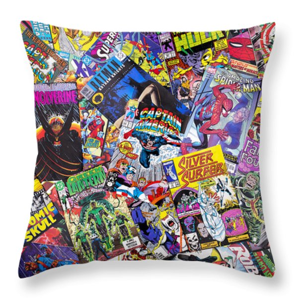 Comic Book Heros Throw Pillow by Tim Gainey