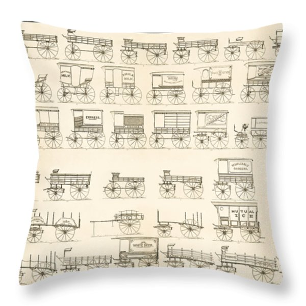 Commercial Wagons  1881 Throw Pillow by Daniel Hagerman