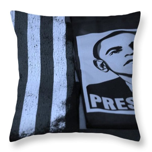 COMMERCIALIZATION OF THE PRESIDENT OF THE UNITED STATES in CYAN Throw Pillow by ROB HANS