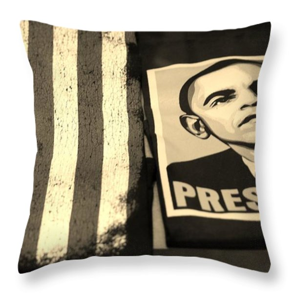 COMMERCIALIZATION OF THE PRESIDENT OF THE UNITED STATES in SEPIA Throw Pillow by ROB HANS