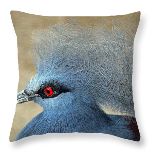 Common Crowned Pigeon Throw Pillow by Cynthia Guinn