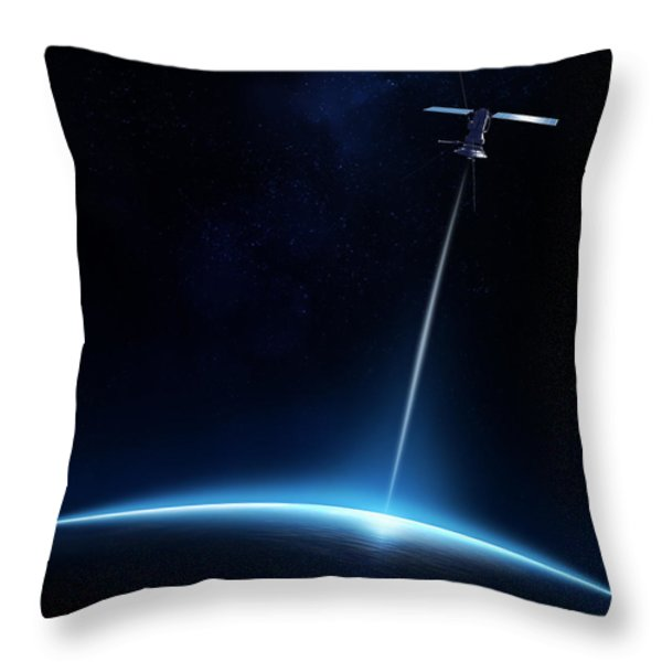 Communication Between Satellite And Earth Throw Pillow by Johan Swanepoel