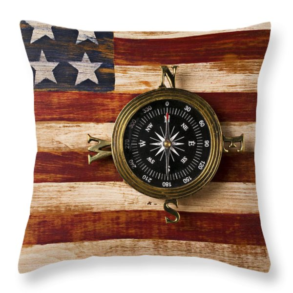 Compass on wooden folk art flag Throw Pillow by Garry Gay