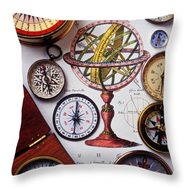 Compasses and globe illustration Throw Pillow by Garry Gay