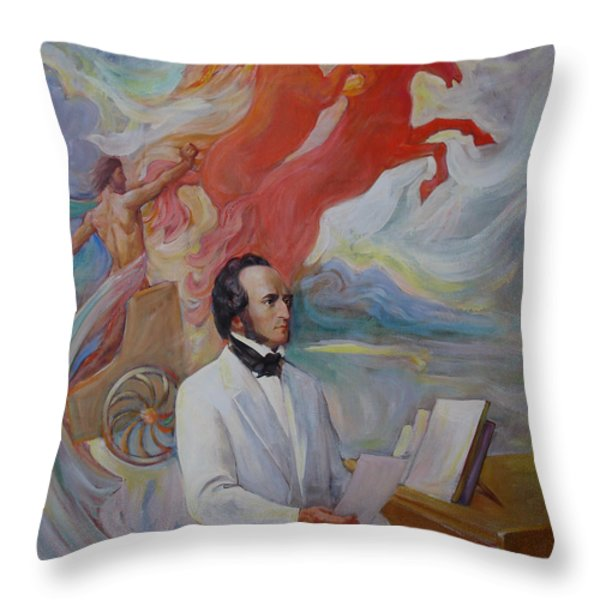 Composer Felix Mendelssohn Throw Pillow by Svitozar Nenyuk