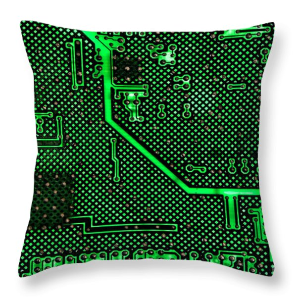 Computer Circuit Board Throw Pillow by Olivier Le Queinec