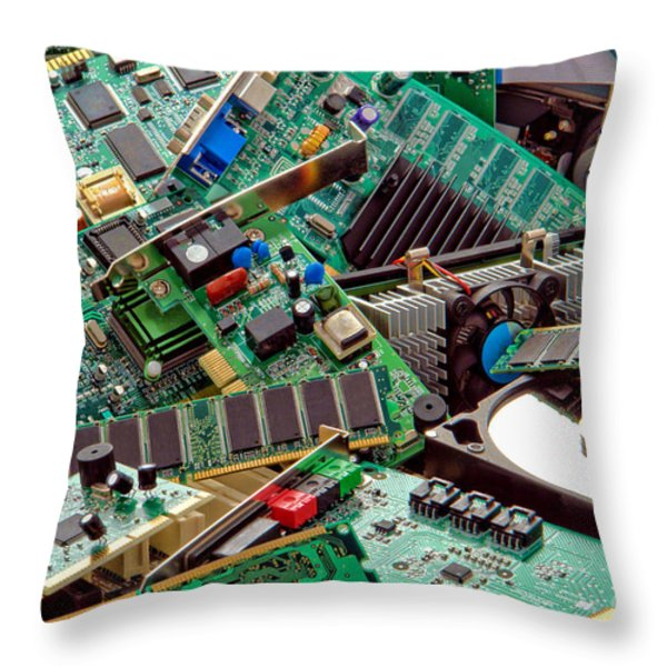 Computer Parts Too Throw Pillow by Olivier Le Queinec