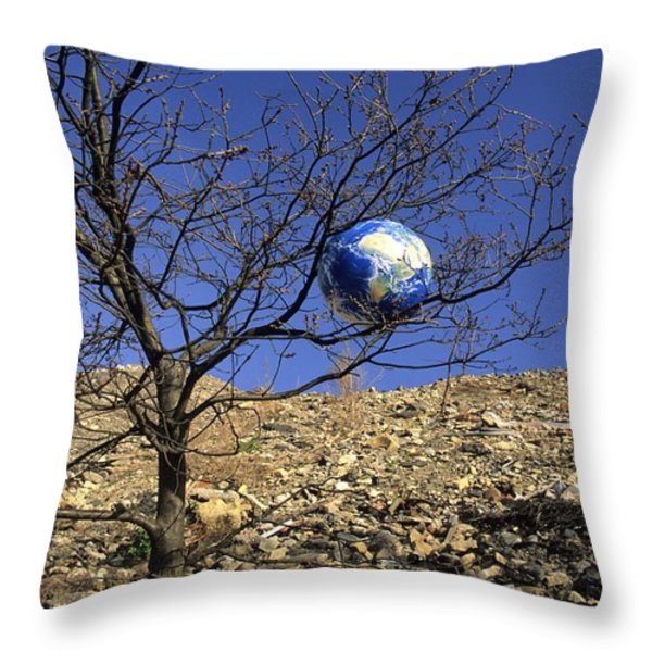 Concept Pollution Throw Pillow by Bernard Jaubert