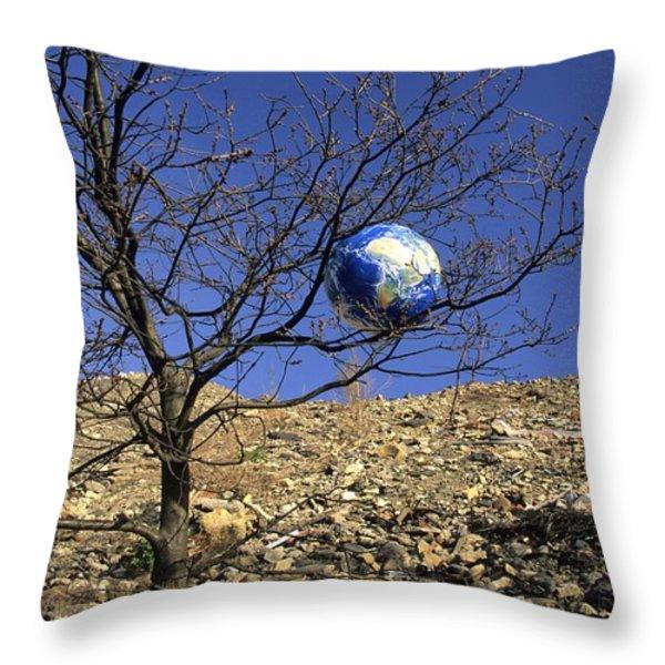 Concept pollution Throw Pillow by BERNARD JAUBERT