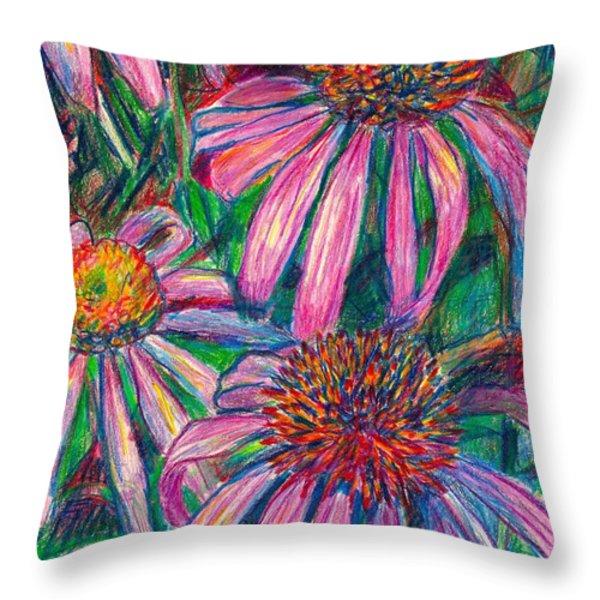 Coneflower Twirl Throw Pillow by Kendall Kessler