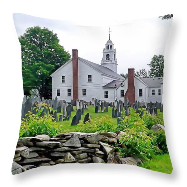 Congregational Church Cemetery Hollis NH Throw Pillow by Janice Drew