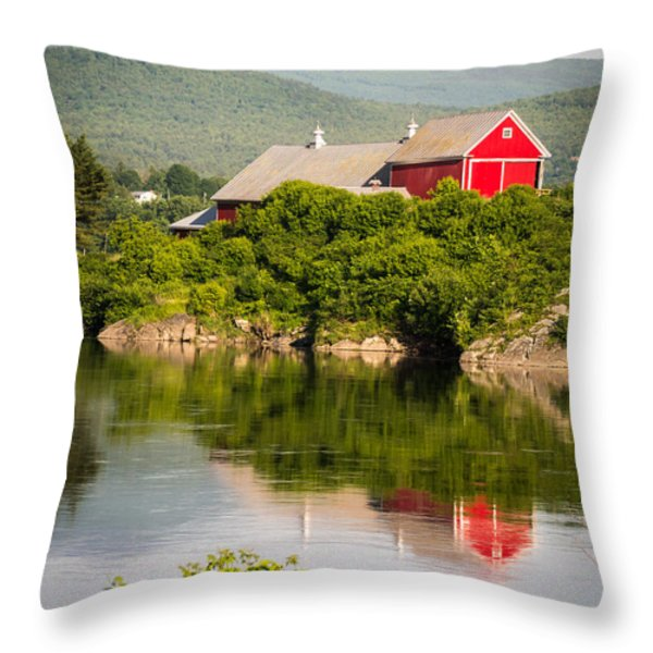 Connecticut River Farm Throw Pillow by Edward Fielding