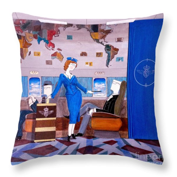 Constellation Businessman Served Martini By Sexy Stewardess Throw Pillow by John Lyes