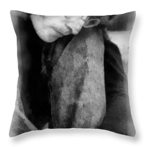 Contemplative John Throw Pillow by Paulette B Wright