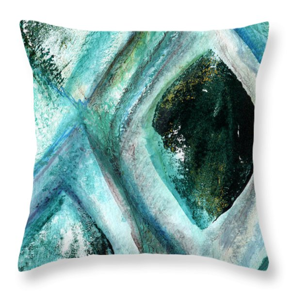 Contemporary Abstract- Teal Drops Throw Pillow by Linda Woods
