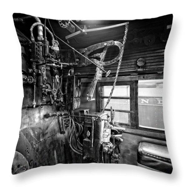 Controls Of Steam Locomotive No. 611 C. 1950 Throw Pillow by Daniel Hagerman