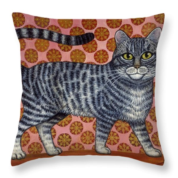 Cookie Cat Throw Pillow by Linda Mears