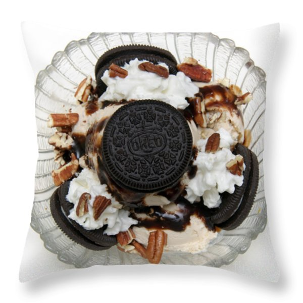 Cookies And Ice Cream Sundae 2 Throw Pillow by Andee Design