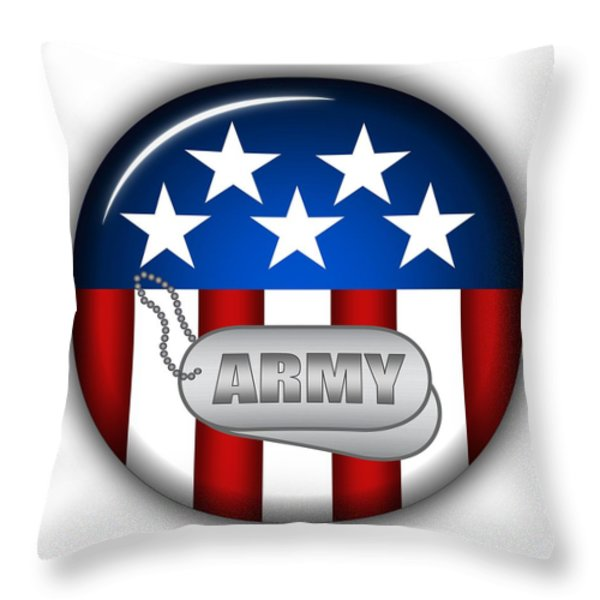 Cool Army Insignia Throw Pillow by Pamela Johnson