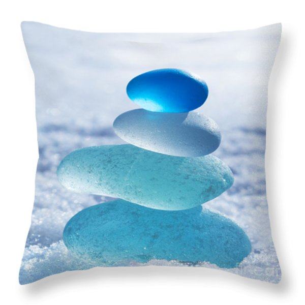 Cool Blues Throw Pillow by Barbara McMahon