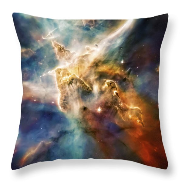 Cool Carina Nebula Pillar 4 Throw Pillow by The  Vault - Jennifer Rondinelli Reilly