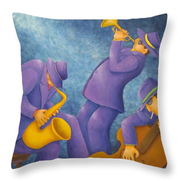 Cool Jazz Trio Throw Pillow by Pamela Allegretto