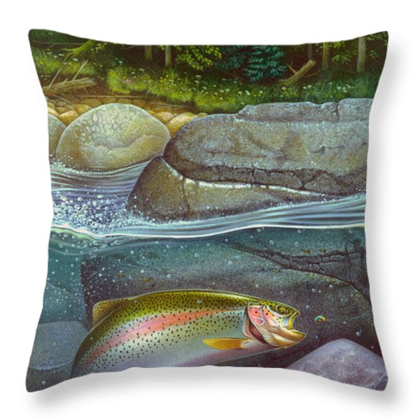 Coolwaters Rainbow Trout Throw Pillow by Jon Q Wright