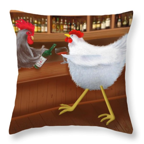 Coq au vin Throw Pillow by Marlene Watson