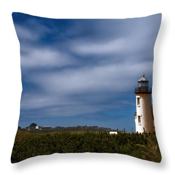 Coquille River Lighthouse Throw Pillow by Joan Carroll