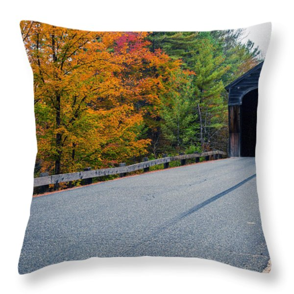 Corbin Covered Bridge Vermont Throw Pillow by Edward Fielding