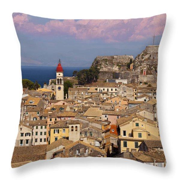 Corfu Town Throw Pillow by Brian Jannsen