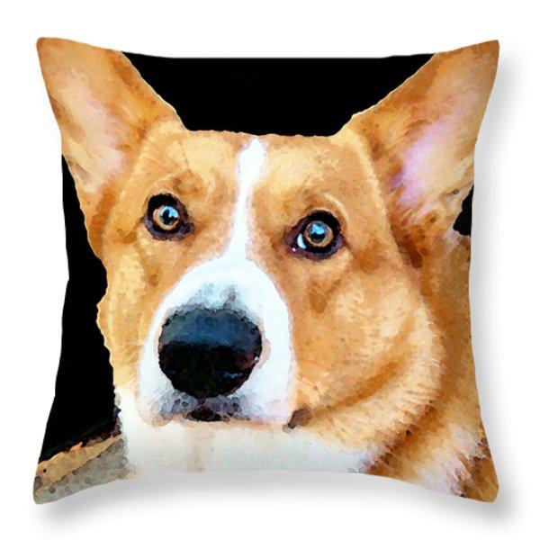 Corgi Art - Pensive  Throw Pillow by Sharon Cummings