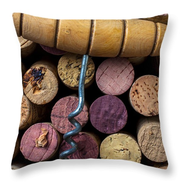 Corkscrew On Top Of Wine Corks Throw Pillow by Garry Gay