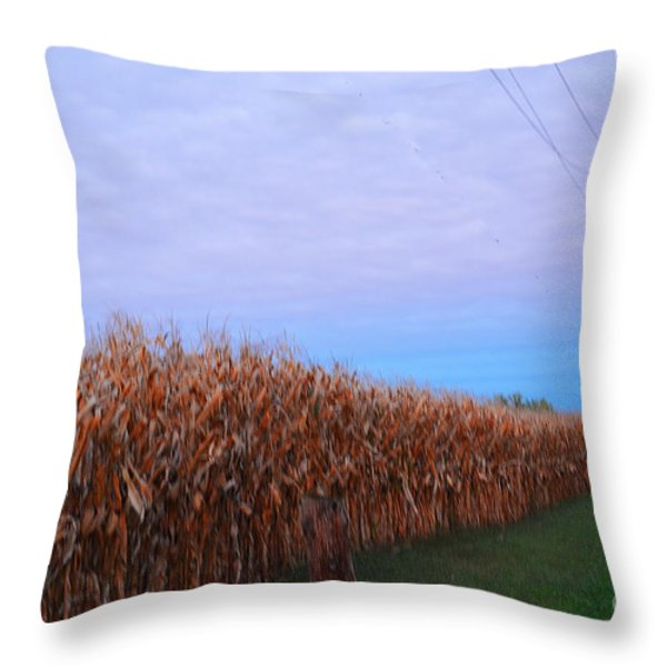Cornfield In Autumn Throw Pillow by Luther   Fine Art