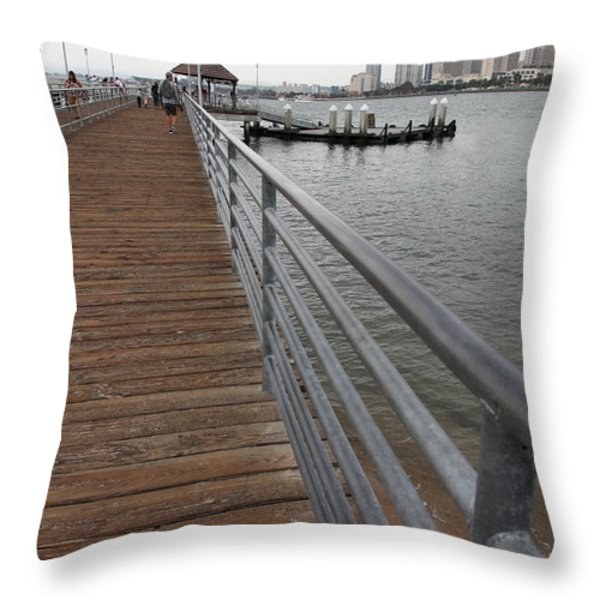 Coronado Pier Overlooking The San Diego Skyline 5d24354 Throw Pillow by Wingsdomain Art and Photography