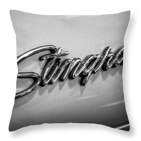 Corvette Stingray Emblem Black And White Picture Throw Pillow by Paul Velgos