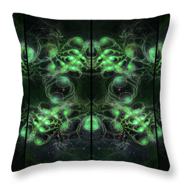 Cosmic Alien Eyes Green Throw Pillow by Shawn Dall