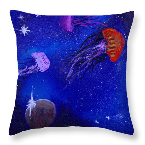 Cosmic Jellyfish Throw Pillow by Andy Lawless