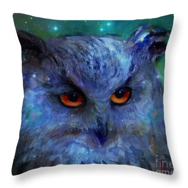 Cosmic Owl Painting Throw Pillow by Svetlana Novikova