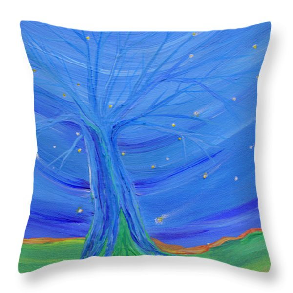 Cosmic Tree Throw Pillow by First Star Art