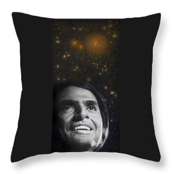 Cosmos- Carl Sagan Throw Pillow by Simon Kregar